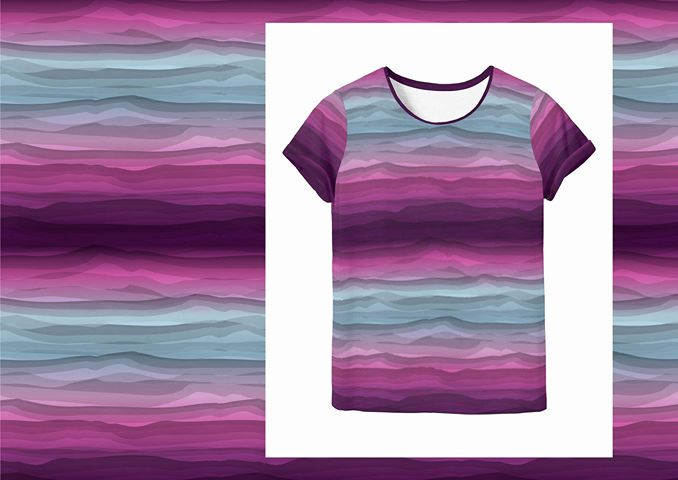 Wavy Stripes Jersey, Magenta-Gray by Swafing