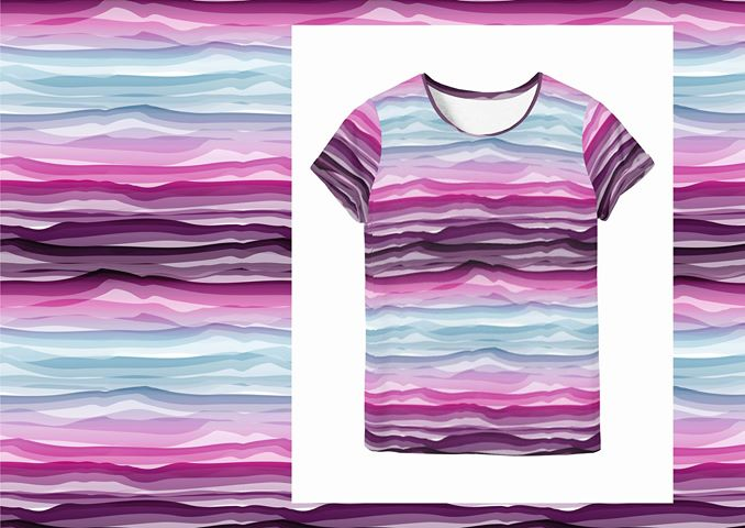 Wavy Stripes Jersey, Magenta-White by Swafing