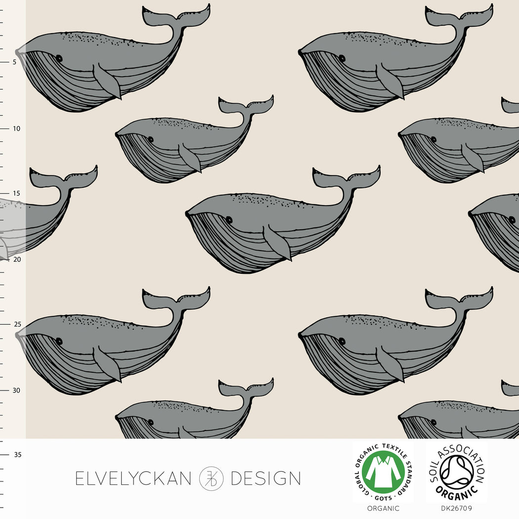 Whales Organic Jersey, Gray & Cream by Elvelyckan Design