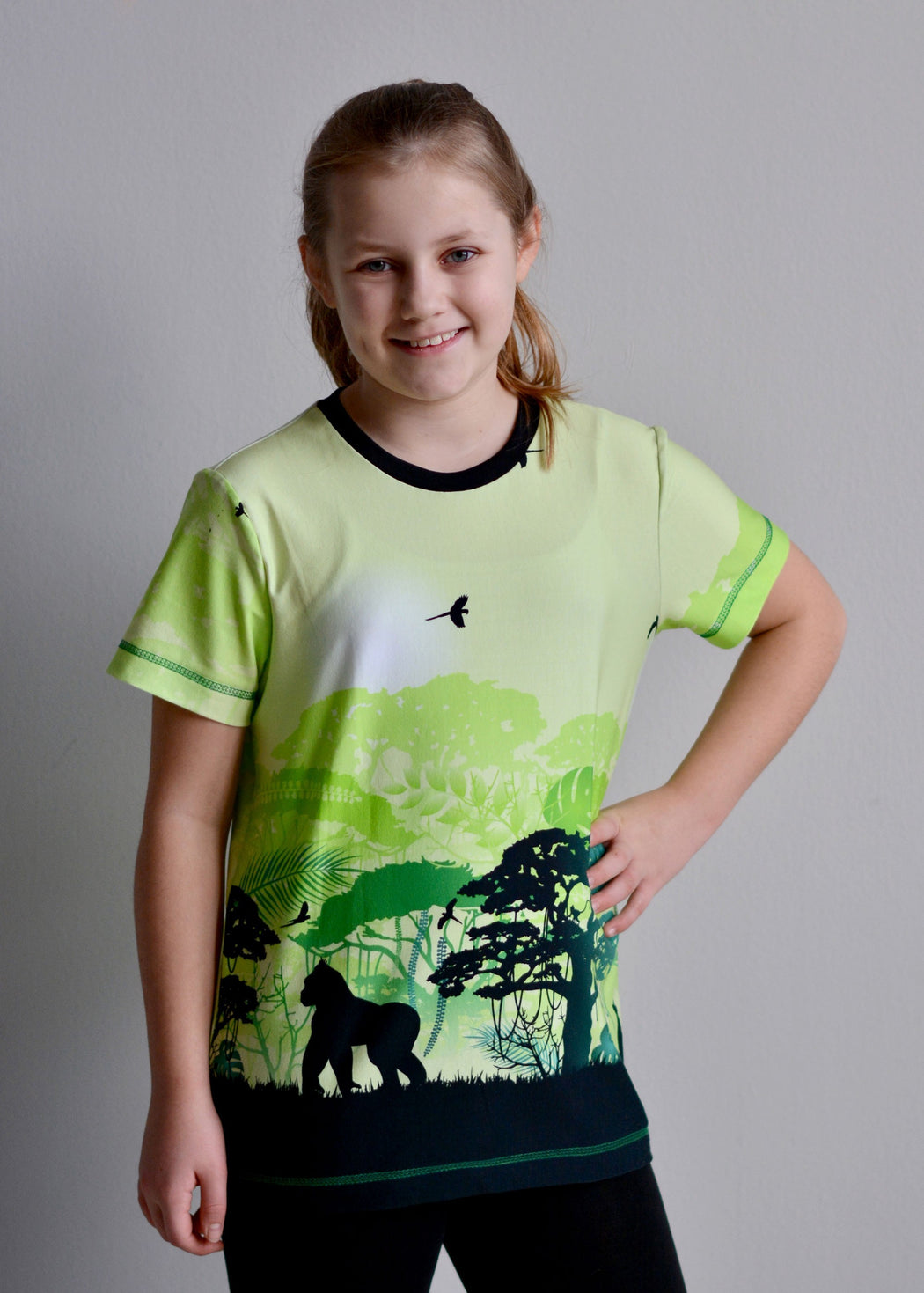Wild Shadows Monkeys Jersey, Green by Swafing