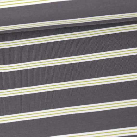 Tri-Color Yarn Dyed Stripes Jersey, Dark Gray