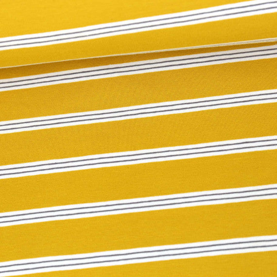 Tri-Color Yarn Dyed Stripes Jersey, Mustard