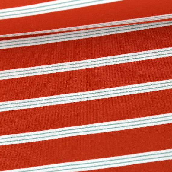 Tri-Color Yarn Dyed Stripes Jersey, Red-Orange