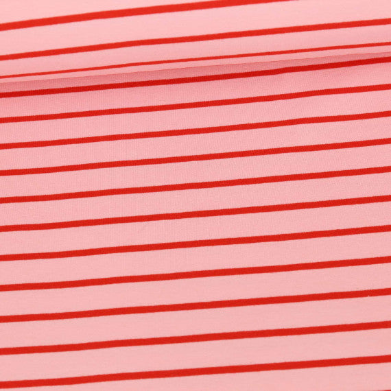 Yarn Dyed Stripes Stretch French Terry, Light Pink & Red