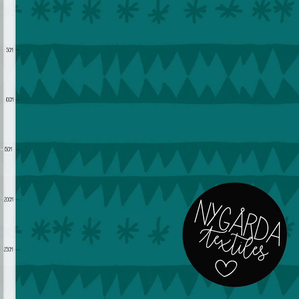 ZigZag Stars Organic Jersey, Ivy by Nygarda Textiles