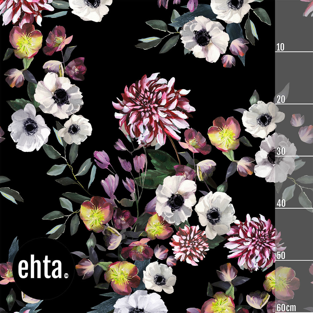 Baroque Flowers Vol 2 Organic Jersey, Black by Ehta