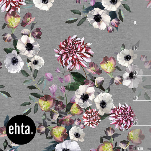 Baroque Flowers Vol 2 Organic Stretch French Terry, Melange Gray by Ehta