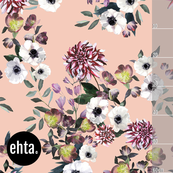 Baroque Flowers Vol 2 Organic Jersey, Nude by Ehta