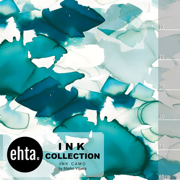 Ink Camo Organic Jersey, Turquoise by Ehta