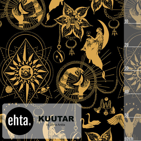 Kuutar Organic Stretch French Terry, Black-Gold by Ehta