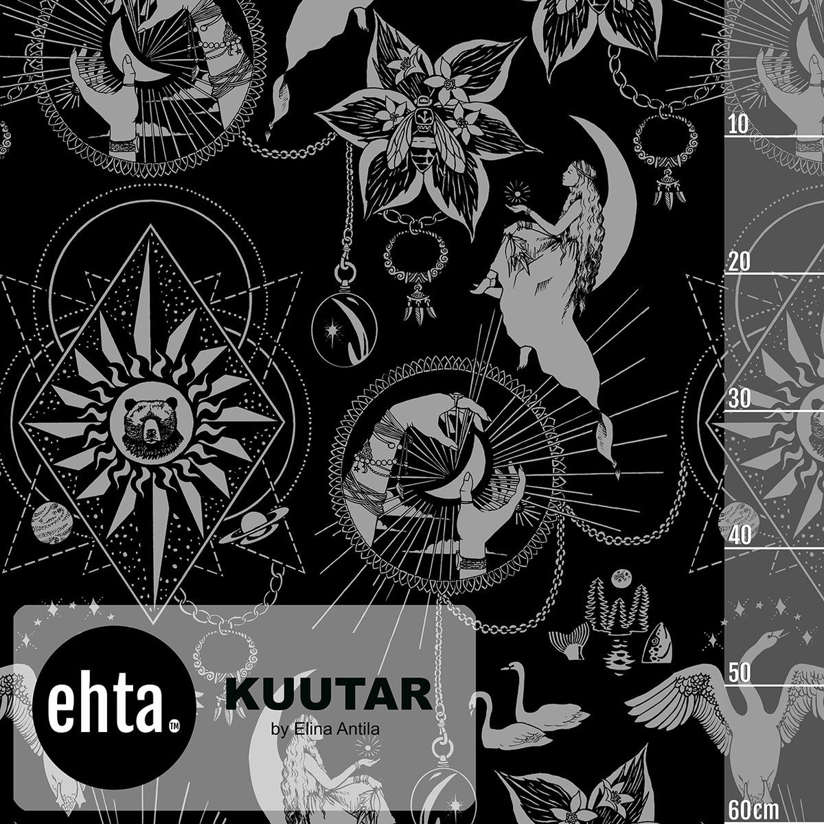 Kuutar Organic Stretch French Terry, Black-Silver by Ehta