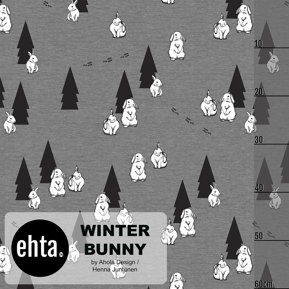 Winter Bunny Organic Stretch French Terry, Gray by Ehta