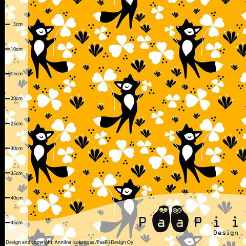 Clover Fox Jersey, Sunny Yellow by Paapii Design