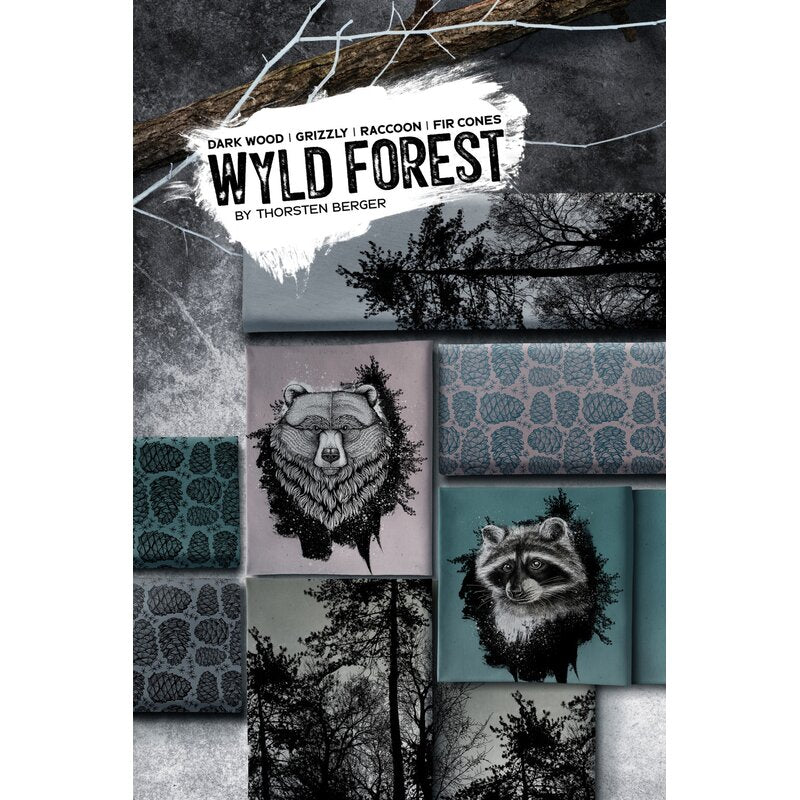 Wyld Forest Trees Stretch French Terry RAPPORT, Teal