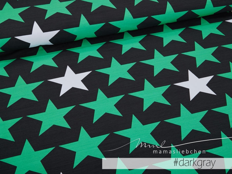 Big Stars Jersey, Dark Gray-Green by Mamasliebchen