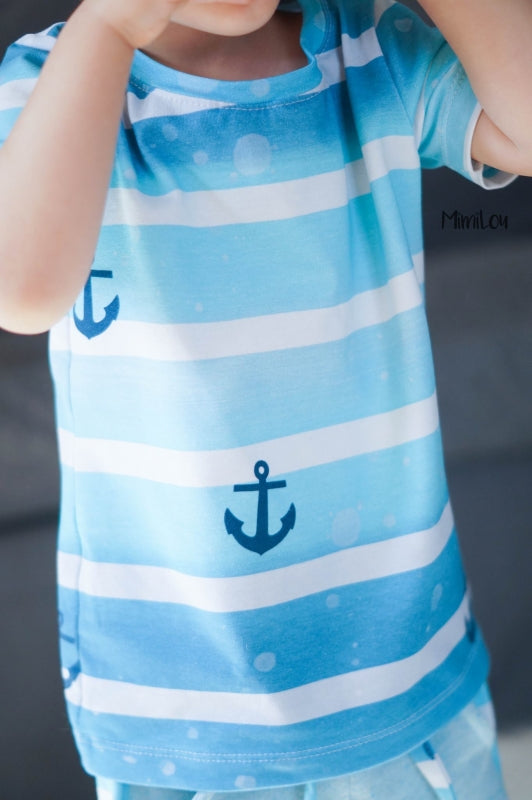 By The Sea Anchors Jersey, Aqua by Mamasliebchen