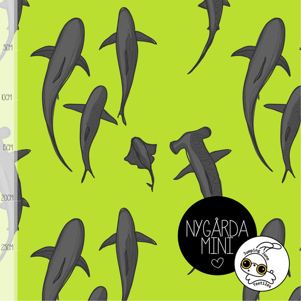 Sharks Organic Jersey, Lime by Jumping June Textiles