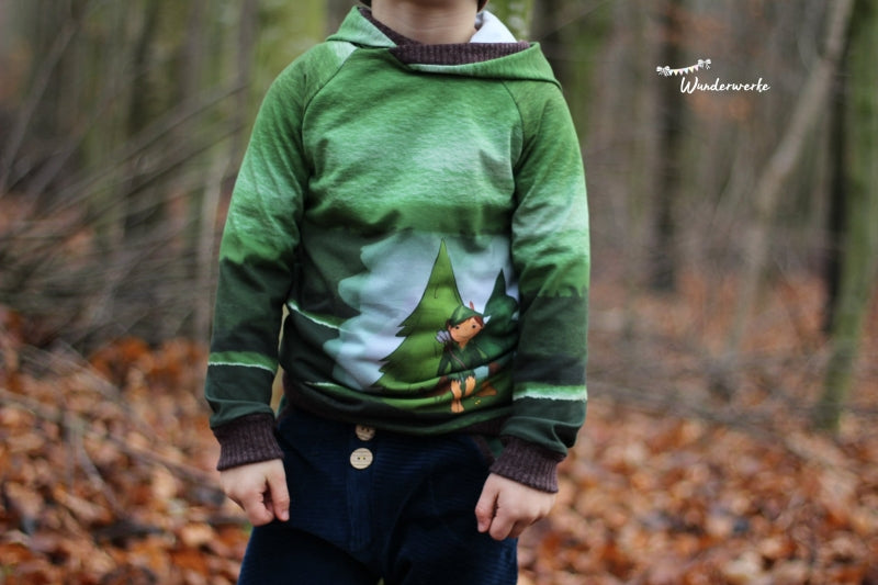 Robin's Forest Stretch French Terry RAPPORT, Green by Mamasliebchen