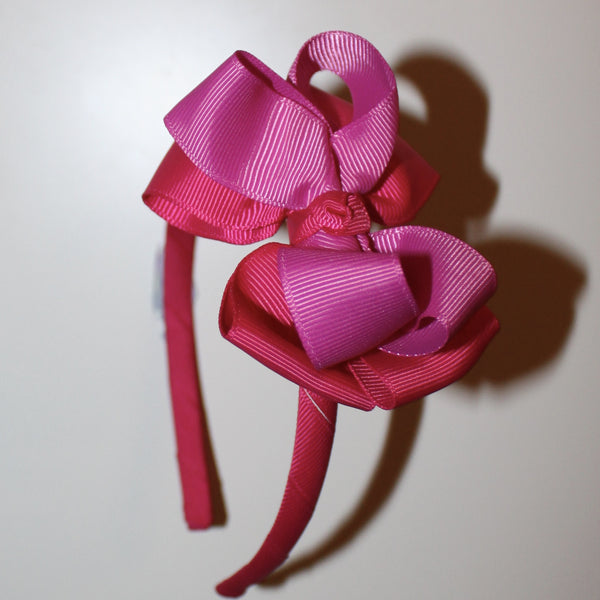 Double Ribbon Bow Headband - Fuchsia