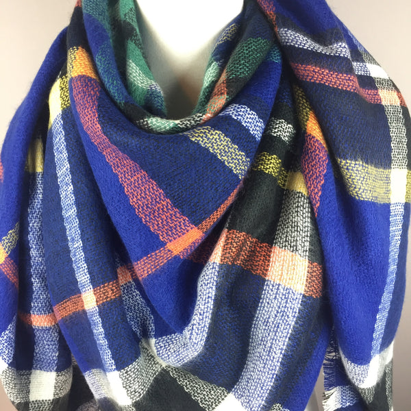 Royal Blue Tartan Blanket Scarf