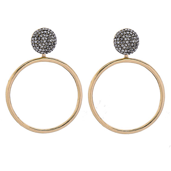 2-in-1 Stud and Hoop Earrings - Gold