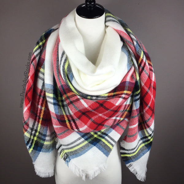 White and Red Tartan Blanket Scarf