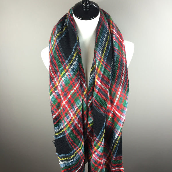 Black and Red Tartan Blanket Scarf