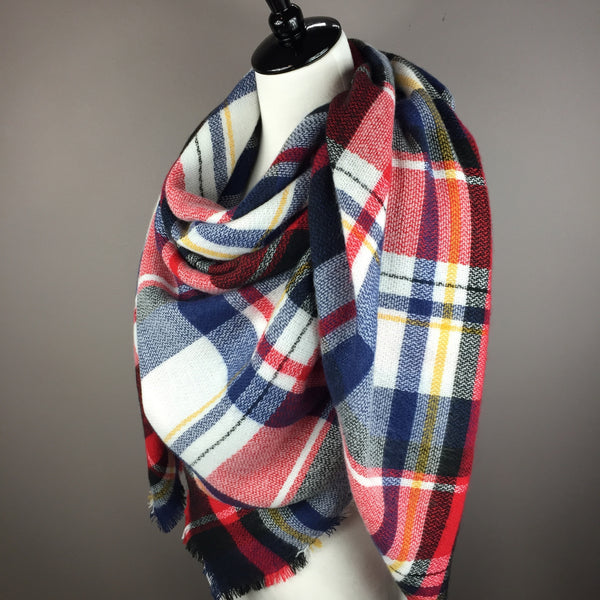 Red, White and Blue Tartan Blanket Scarf