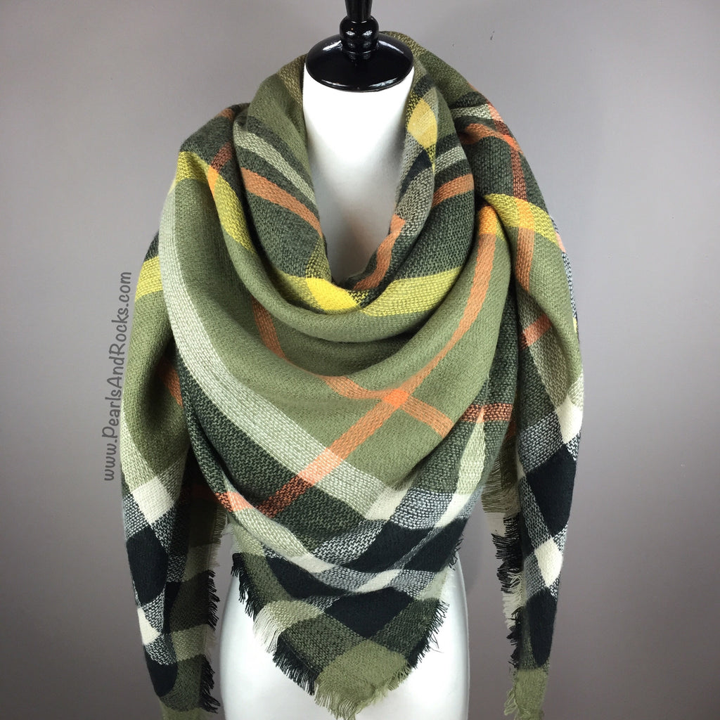 Army Green Tartan Blanket/Triangle Scarf