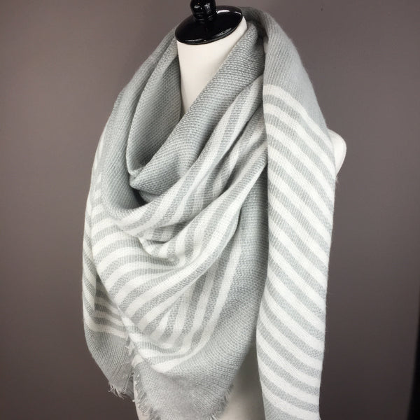 Gray w/ White Stripes Blanket Scarf