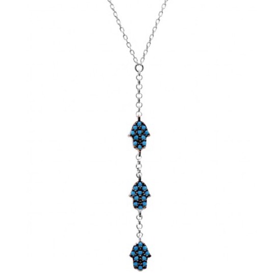 3 Hamsa Hands Lariat Necklace w/ Nano Turquoise - Sterling Silver