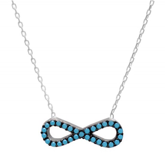 Infinity Necklace w/ Nano Turquoise - Sterling Silver