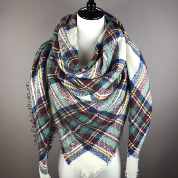 White and Green Tartan Blanket/Triangle Scarf