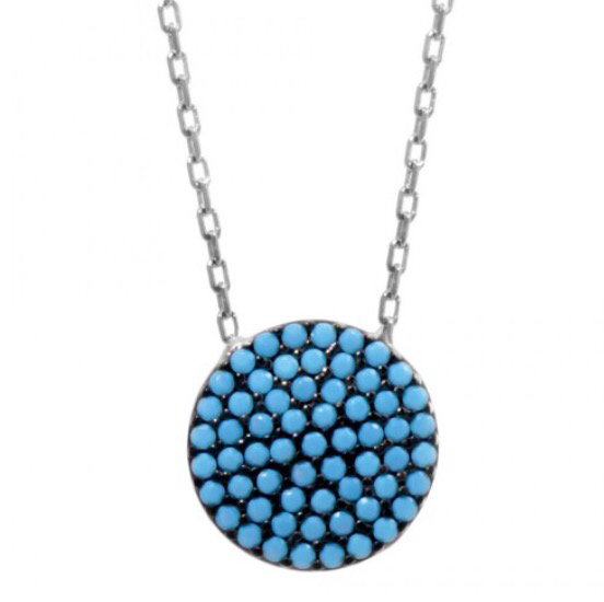 Disc Necklace w/ Nano Turquoise - Sterling Silver