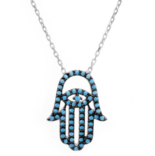 Hamsa Hand Necklace w/ Nano Turquoise - Sterling Silver