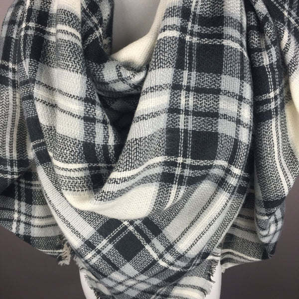 White and Black Tartan Blanket Scarf