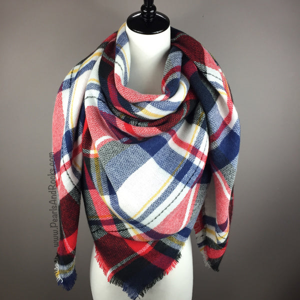 Red, White and Blue Tartan Blanket/Triangle Scarf