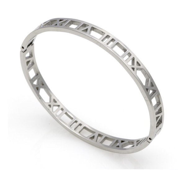 Roman Numerals Bangle Bracelet - Stainless Steel