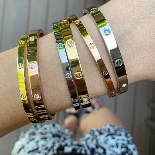 Amour Slim + Stones Bracelets - Stainless Steel