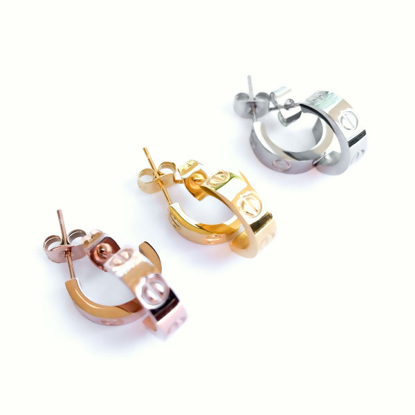 Amour Huggie Earrings - Stainless Steel