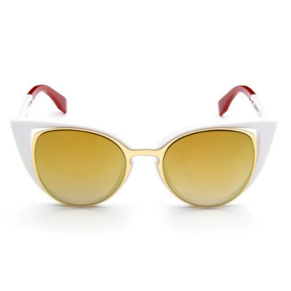 Ancona Sunglasses - White w/ Gold Mirror