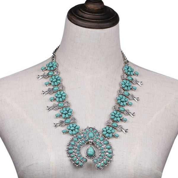 Avalon Statement Necklace - Blue