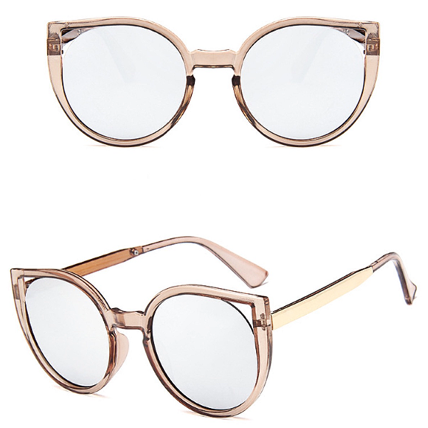 Barcelona Cat Eye Sunglasses - Champagne/Silver Mirror