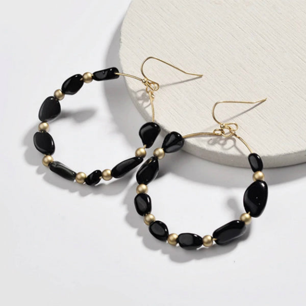 Bea Natural Stone Earrings - Black