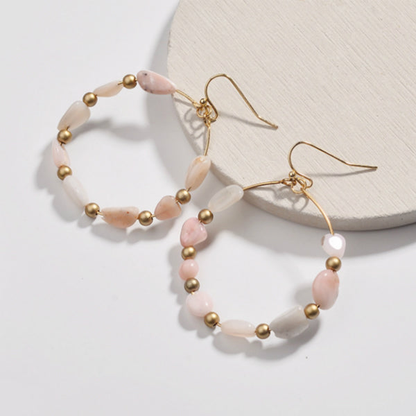 Bea Natural Stone Earrings - Pink