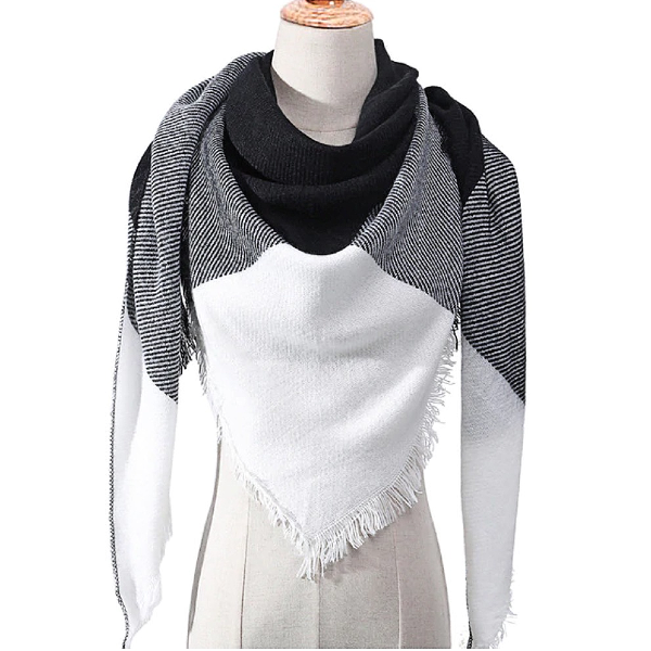 White and Black Triangle Scarf