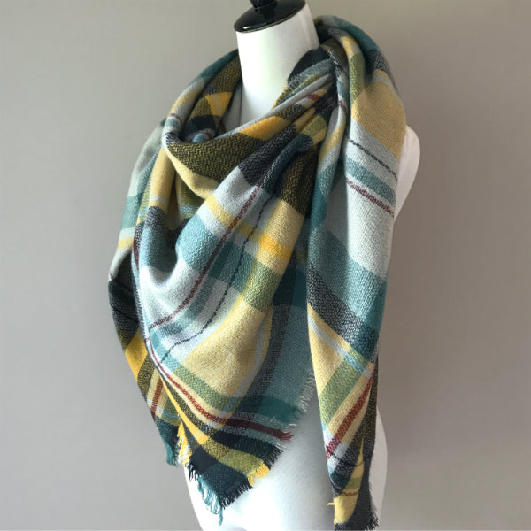 Blue and Yellow Blanket Scarf