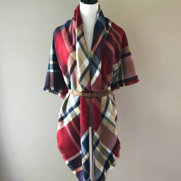 Burgundy, Navy Blue and Beige Blanket/Triangle Scarf
