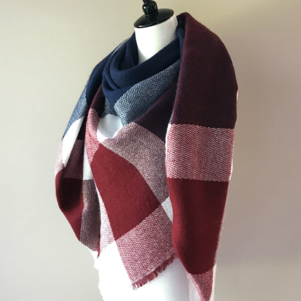 Burgundy and Navy Blue Blanket/Triangle Scarf