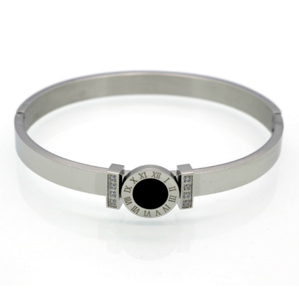 Cassia Bangle Bracelet w/ Roman Numerals - Stainless Steel